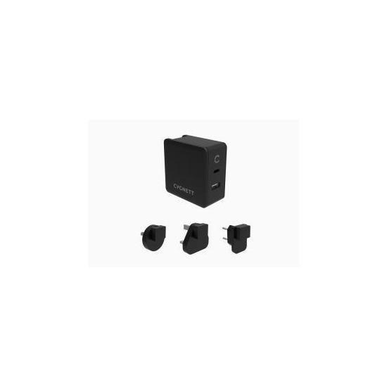 Cygnett PowerFlo+ Dual USB-C & USB-A PD 57W Travel Wall Charger