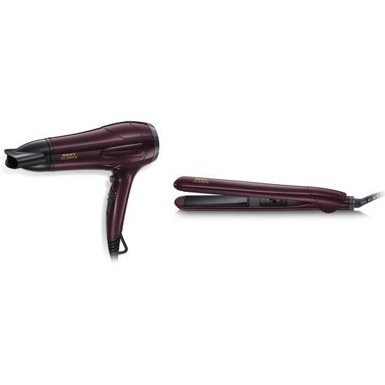 Nicky Clarke Dry & Style NGP227 Hair Dryer & Straightener Set - Burgundy