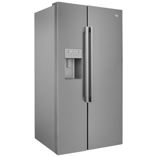 BEKO ASPM341LPX American-Style Fridge Freezer - Steel