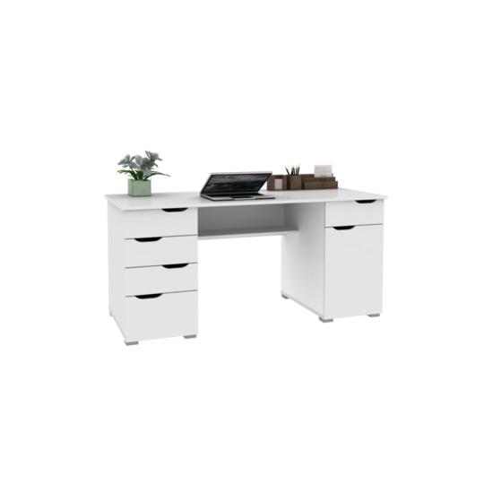 Alphason Kentucky Desk - Gloss White