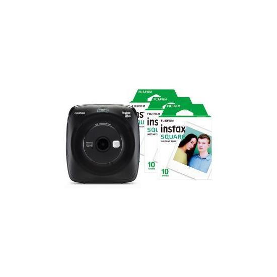 Fujifilm Instax Square SQ20 Hybrid Instant Camera - Matte Black + 30 Shots