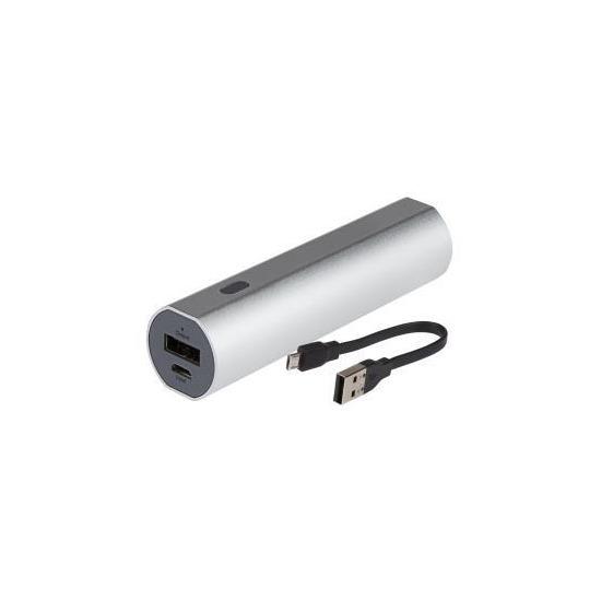 Maplin 2600mAh Portable Powerbank - Silver Aluminium Casing