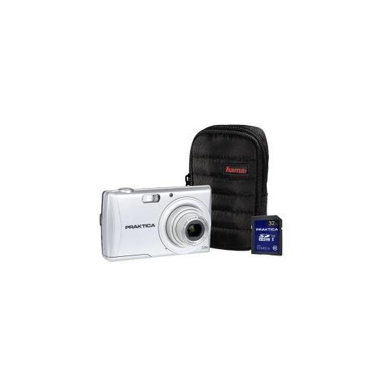 PRAKTICA Luxmedia Z250 Silver Camera Kit inc 32GB SDHC Class 10 Card & Case