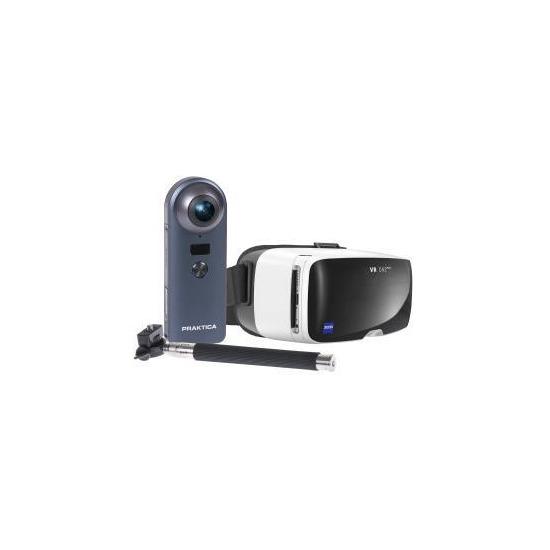 PRAKTICA Luxmedia Z360 4K WiFi Camera w/ Stitch Selfie Stick & Zeiss VR Headset