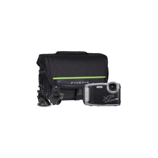 Fujifilm XP140 Graphite Camera Kit inc Bicycle Mount, Large Suction Mount & Case