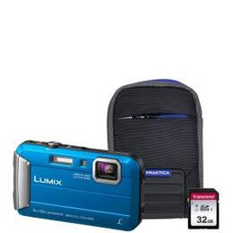 Panasonic Lumix DMC-FT30 Tough Camera Kit inc 32GB SD Card & Case - Blue