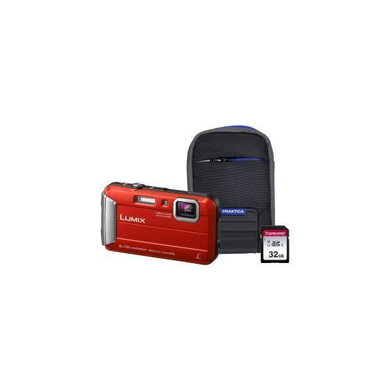 Panasonic Lumix DMC-FT30 Tough Camera Kit inc 32GB SD Card & Case - Red
