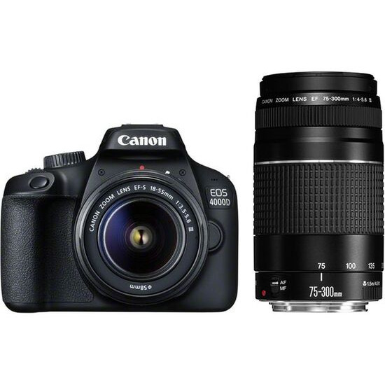 CANON EOS 4000D DSLR Camera with EF-S 15-88 mm f/3.5-5.6 III & EF 75-300 mm f/4-5.6 III Lens