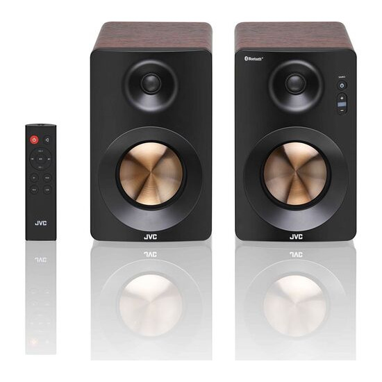 JVC XS-D629BM 2.0 Bluetooth Bookshelf Speakers - Walnut