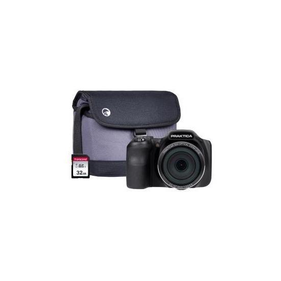 PRAKTICA Luxmedia Z35 Bridge Camera Kit inc 32GB SD Card and Case - Black