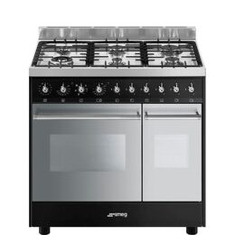 SMEG C92DBL9 90 cm Dual Fuel Range Cooker - Black & Stainless Steel
