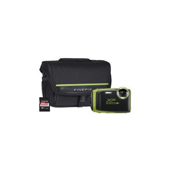 Fujifilm Finepix XP130 Tough Lime Green Camera Kit Bundle with 64GB SD Card & System Bag