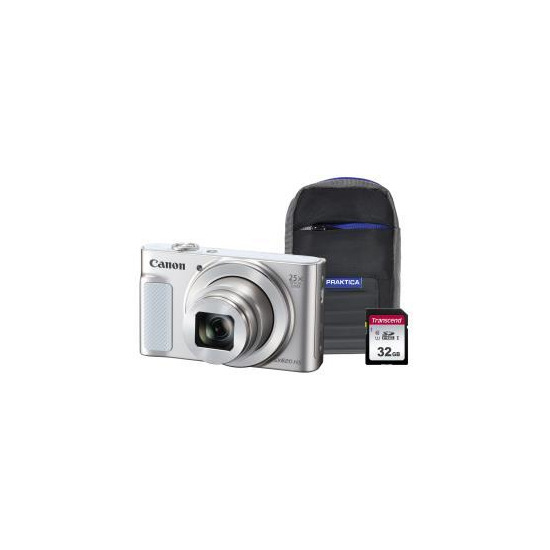 Canon PowerShot SX620 HS Superzoom Compact Camera with 32 GB SDHC Class 10 Card & Case - White