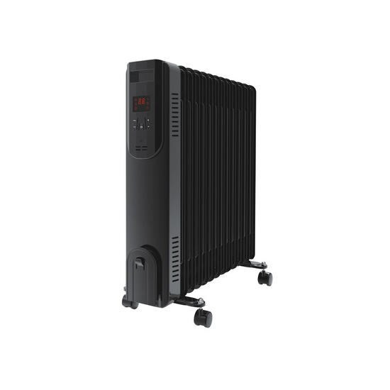electriQ 2.5kw Smart WiFi Alexa Oil Filled Radiator 11 Fin  24 hour and Weekly Timer with Thermostat and Remote - Black