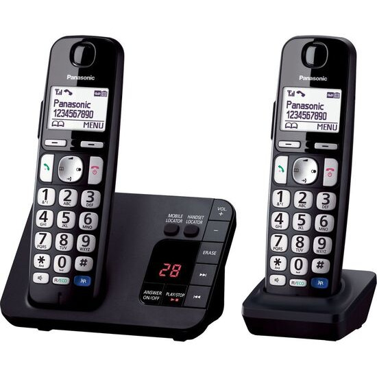 PANASONIC KX-TGE722EB Cordless Phone - Twin Handsets