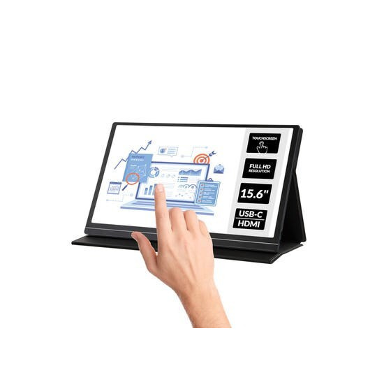 electriQ eiQ-15FHDPMT 15.6 Full HD Touch Screen USB-C Portable Monitor