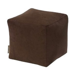 Photo of Faux Suede Beanbag Footstool - Chocolate Cushions and Throw