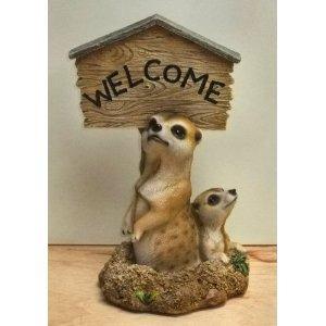 Photo of Meerkat Welcome Sign Garden Ornament