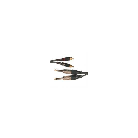 2 x RCA PHONO PLUGS TO 2 x 6.3mm MONO JACK PLUGS CABLE 6m