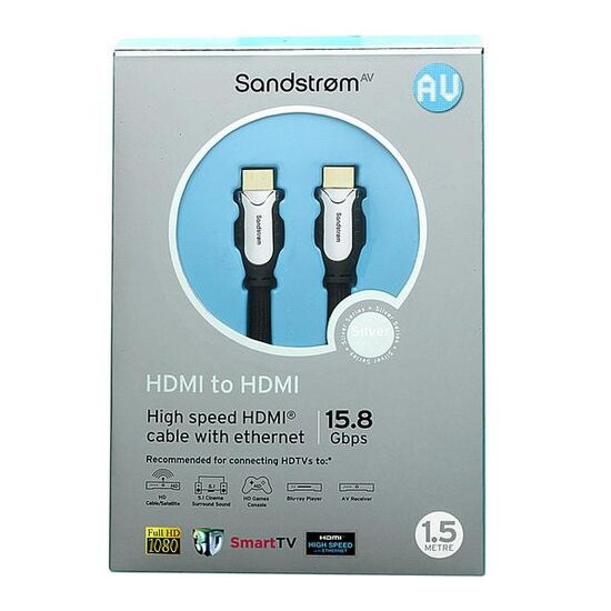 Sandstorm AV Silver Series HDMI 1.4 Cable with Ethernet - 1.5m