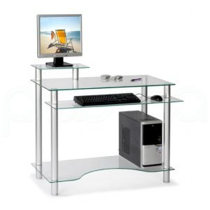 Photo of Milano Glass Workstation Computer Desk