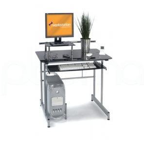 Photo of Vegas Black Glass Computer Desk Computer Desk