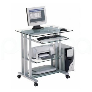 Photo of Glass Computer Workstation Computer Desk