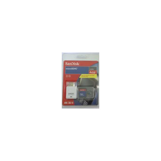 Sandisk MicroSDHC 4GB with Adapter and Micro Mate Card Reader - SDSDQ-4096