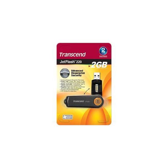Transcend JetFlash 220 Fingerprint 2GB USB Flash Drive - TS2GJF220