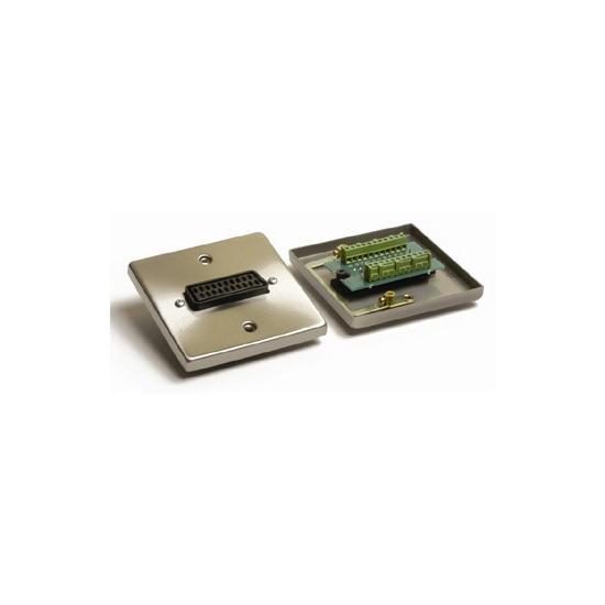 AV4Home WP-7100 Satin Chrome Scart Wall Plate