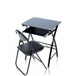 Levv Black Glass Desk with Folding Chair Reviews