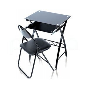 Photo of Levv Black Glass Desk With Folding Chair Office Furniture