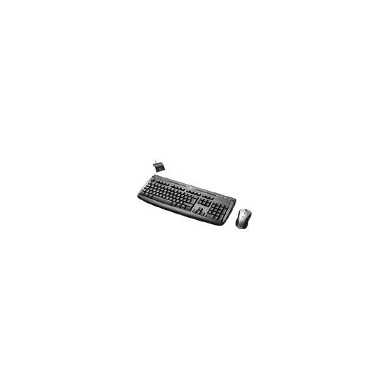 Logitech Internet 1500 Laser Cordless Desktop - Keyboard - wireless - RF - mouse - USB wireless receiver - midnight black - UK - OEM