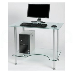 Photo of Jual PC005F - Laptop Or Small Computer Desk Frosted Glass Computer Desk
