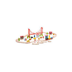 Photo of Carousel Wooden 60  Pieces Train Set Toy