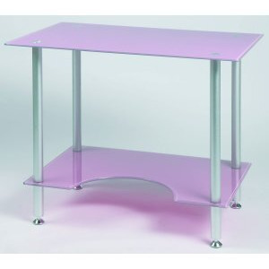 Photo of Jual PC005P - Laptop Or Small Computer Desk Pink Glass Office Furniture