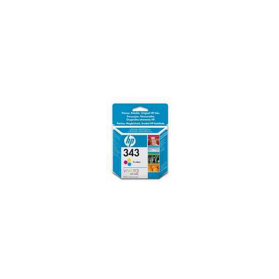 Original HP No.343 tri-colour (cyan magenta yellow) printer ink cartridge twin pack