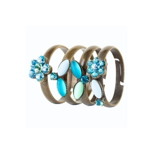 Photo of Blue Crystal Flowers Rings Jewellery Woman