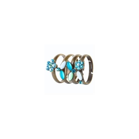 Blue crystal flowers rings