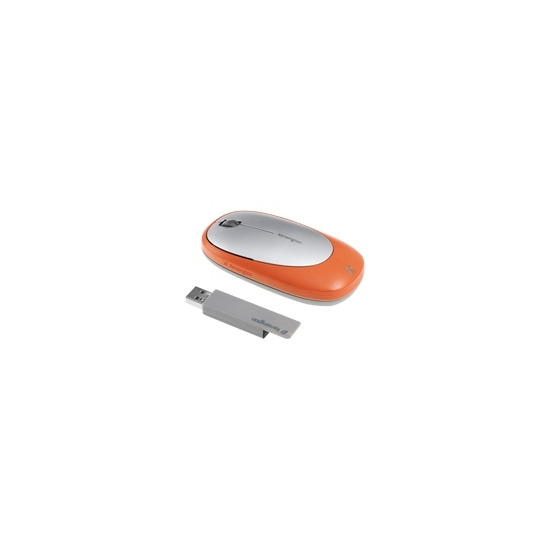 Kensington Ci75m Wireless Notebook Mouse - Mouse - optical - wireless, wired - USB, RF - USB wireless receiver - silver, orange