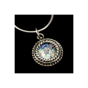 Photo of Romani Jewellery Antique Roman Glass Silver Necklace Jewellery Woman
