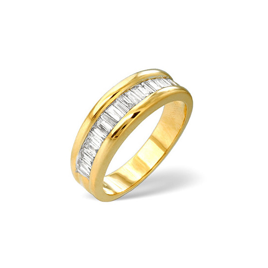 1/2 Eternity Ring 1.00CT Diamond 9K Yellow Gold