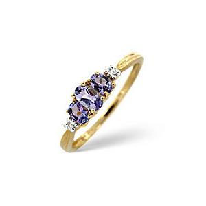 Photo of The Diamond Store Tanzanite 0 01CT Diamond Ring 9K Yellow Gold Jewellery Woman