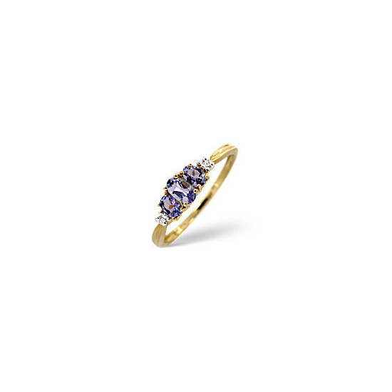 The Diamond Store Tanzanite 0 01CT Diamond Ring 9K Yellow Gold