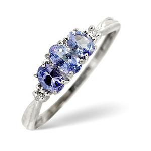 Photo of Tanzanite & 0.01CT Diamond Ring 9K White Gold Jewellery Woman