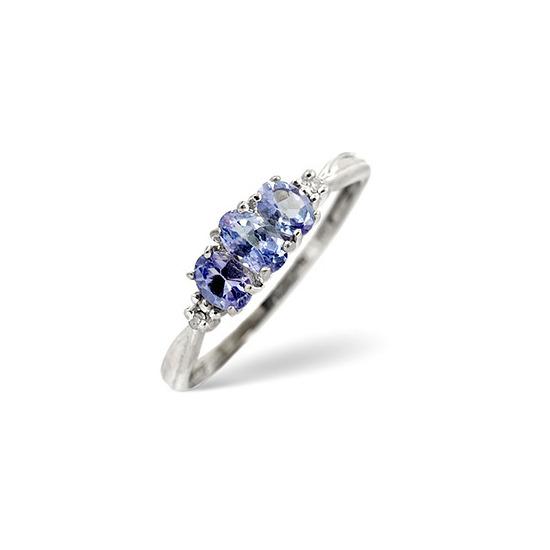Tanzanite & 0.01CT Diamond Ring 9K White Gold