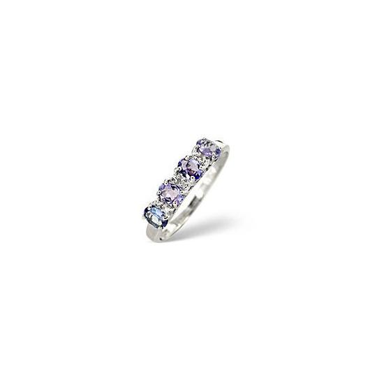 Tanzanite &  Diamond Ring 9K White Gold