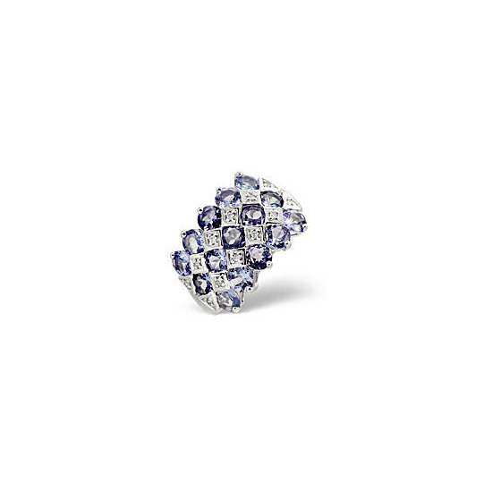 Tanzanite & 0.06CT Diamond Ring 9K White Gold