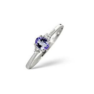 Photo of Tanzanite & 0.03CT Diamond Ring 9K White Gold Jewellery Woman