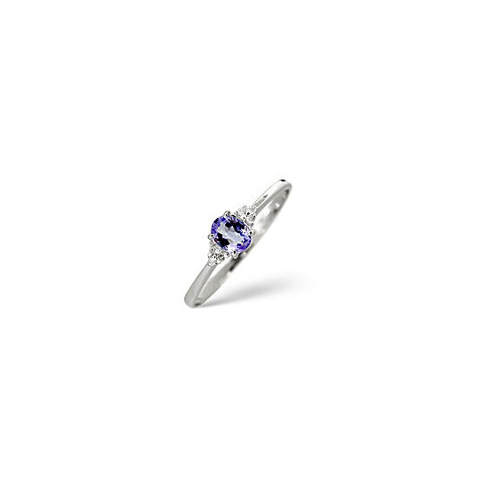 Tanzanite & 0.03CT Diamond Ring 9K White Gold